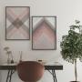 Quadro Abstrato Geométrico Rosa e Cinza Tons - Kit 2 telas