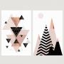 Quadro Abstrato Geométrico Rosa Preto e Rose- Kit 2 telas