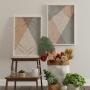 Quadro Abstrato Geométrico Rose Dourado e Cinza - Kit 2 telas