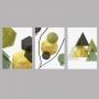 Quadro Abstrato Geométrico Verde e Dourado - Kit 3 telas