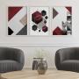Quadro Abstrato Geométrico Vermelho Luxo - Kit 3 telas