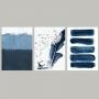 Quadro Abstrato Liberdade Azul Pássaros - Kit 3 telas