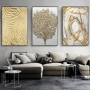 Quadro Abstrato Luxo Dourado e Branco Árvore - Kit 3 telas