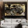 Quadro Abstrato Luxo Master Preto e Dourado - Tela Única