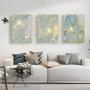 Quadro Abstrato Mármore Azul Fios Dourado Delicado - Kit 3 telas