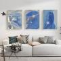 Quadro Abstrato  Mármore Azul Intenso  - Kit 3 telas