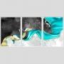 Quadro Abstrato Mármore Azul Preto e Dourado - Kit 3 telas