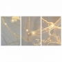 Quadro Abstrato Mármore Cinza Azul Delicado e Ouro - Kit 3 telas