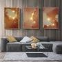 Quadro Abstrato Mármore Coral e Dourado  - Kit 3 telas