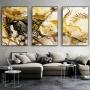Quadro Abstrato  Mármore Dourado Branco e Preto - Kit 3 telas