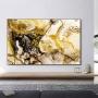 Quadro  Abstrato Mármore Dourado e Preto Luxo - Tela Única