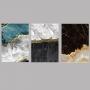 Quadro Abstrato  Mármore Preto Branco e Azul - Kit 3 telas