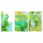 Quadro Abstrato Mármore Tons de Verde e Branco - Kit 3 telas
