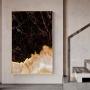 Quadro  Abstrato Mármores Branco Gold e Preto - Tela Única