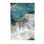 Quadro  Abstrato Mármores Tiffany Cinza e Dourado - Tela Única