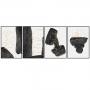 Quadro Abstrato Minimalista Preto Branco e Dourado - 4 Telas