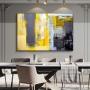Quadro Abstrato Moderno Amarelo e Cinza - Tela Única