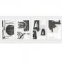 Quadro Abstrato Moderno Preto e Branco - 4 Telas