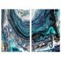 Quadro Abstrato Oceano Azul Textura Luxo - Kit 2 telas