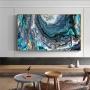 Quadro Abstrato Oceano Azul Textura Luxo - Tela Única