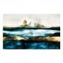 Quadro  Abstrato Oceano Cidade  Perdida Ouro- Tela Única