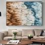 Quadro  Abstrato Patina Marrom e Azul Luxo - Tela Única