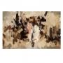 Quadro  Abstrato Pinceladas Marrom e Preto Luxo - Tela Única