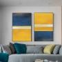 Quadro Abstrato Pintura Amarelo e Azul Contemporâneo - Kit 2 telas