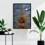 Quadro  Abstrato Pintura Barco Caravela Azul - Tela Única