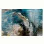 Quadro Abstrato Pintura Borrada Azul e Creme - Tela Única