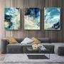 Quadro Abstrato Pintura Moderna Azul - Kit 3 telas