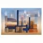 Quadro  Abstrato Pintura Óleo Azul e Coral Colorido - Tela Única