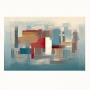 Quadro  Abstrato Pintura Óleo Azul Tiffany e Marsalla - Tela Única