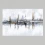 Quadro  Abstrato Pintura Óleo Cinza e Preto Luxo - Tela Única