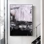 Quadro Abstrato Pintura Óleo Preto e Branco - Tela Única