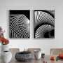 Quadro Abstrato Preto e Branco 3d - Kit 2 telas