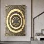 Quadro Abstrato Preto e Dourado Circulo Luxo - Tela Única