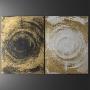 Quadro Abstrato Preto e Dourado Luxo Espátula - Kit 2 telas