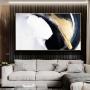 Quadro Abstrato Preto e Dourado Moderno Luxo - Tela Única