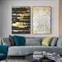 Quadro Abstrato Preto e Dourado Textura 1 - Kit 2 telas