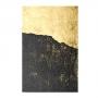 Quadro Abstrato Preto e Dourado Textura - Tela Única