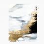 Quadro Abstrato Sofisticado Preto Branco e Dourado - Tela Única