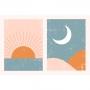 Quadro Abstrato Sol e Lua - Kit 2 telas