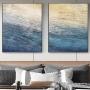 Quadro Abstrato Textura Azuis Oceano - Kit 2 telas