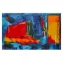 Quadro  Abstrato Vermelho Coral e Azul - Tela Única