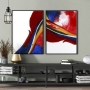 Quadro Abstrato Vermelho e Branco Luxo - Kit 2 telas