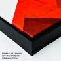 Quadro Abstrato Vermelho Tinta Preto -  Kit 2 telas
