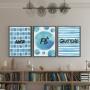 Quadro Amor Fé e Gratidão Azul e Branco  - Kit 3 telas