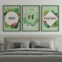 Quadro Amor Fé e Gratidão Natureza Colorido - Kit 3 telas