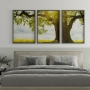 Quadro Árvore Sol Luz - Kit 3 telas